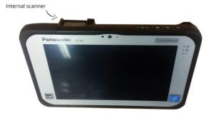 E-Brida compatible with Panasonic ToughPad internal scanner